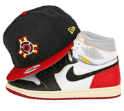 "DC COMICS INJUSTICE AIR JORDAN I ""UNION"" BLACK TOE MATCHING NEW ERA SNAPBACK"