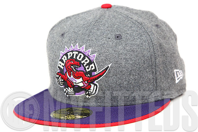 Toronto Raptors Grey Melton Concord Scarlet Official Team Color New Era Fitted Cap