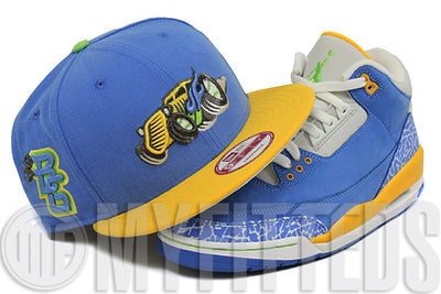 Bowling Green Hotrods Angelic Force Argent Gold Electric Lime Air Jordan III Do the Right Thing New Era Snapback