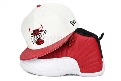 "Chicago Bulls Glacial White Scarlet Faux Pebbled Air Jordan XII ""Gym Red"" New Era Snapback"