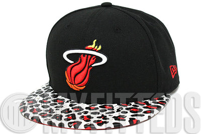 Miami Heat Ostrich Leopard Print Leather Visor Jet Black White Fire Red New Era Strapback