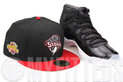 "Lake Elsinore Strom California League Jet Black Scarlet Air Jordan XI ""72-10"" Matching New Era Hat"
