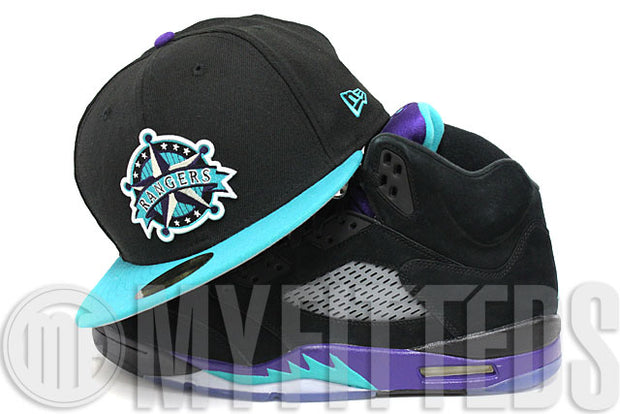 Texas Rangers Jet Black Aqua Filament Concord Silver New Era Hat