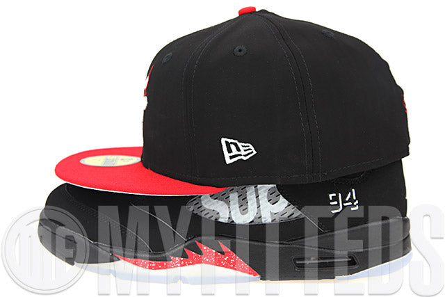 Chicago Bulls Jet Black Faux Nubuck Garnet Fire Air Jordan V x Supreme Jordan V Low  New Era Hat