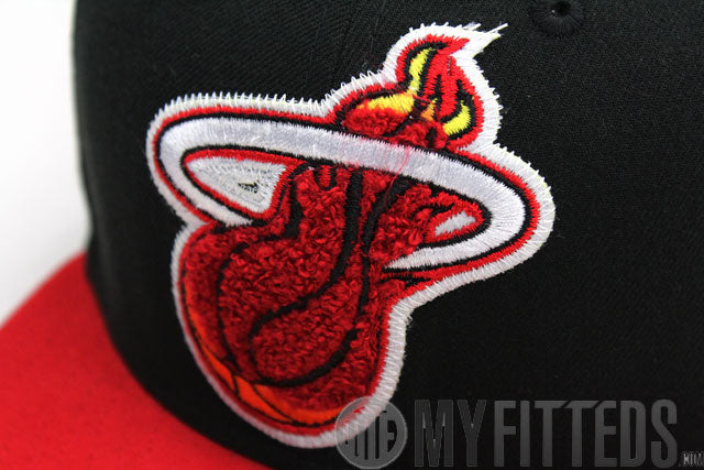 Miami Heat Jet Black Scarlet Big Chenille Official New Era Fitted Cap