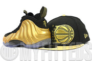 Orlando Magic Jet Black Gunmetal Metallic Gold Air Foamposite Gold Matching New Era Fitted Cap