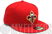 New Orleans Pelicans Scarlet Navy Blue Metallic Gold Fleur De Lis New Era Hat