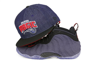"ORLANDO MAGIC 2 TONE AIR FOAMPOSITE ONE ""DENIM"" MATCHING NEW ERA HAT"