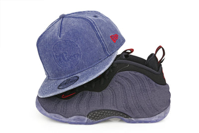 PHILADELPHIA 76ERS DENIM FOAMPOSITE HOOK THE GOLFER NEW ERA SNAPBACK