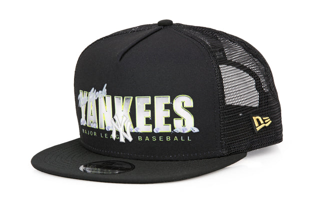 NEW YORK YANKEES VINTAGE BLING TEAM WORDMARK TRUCKER A-FRAME NEW ERA SNAPBACK