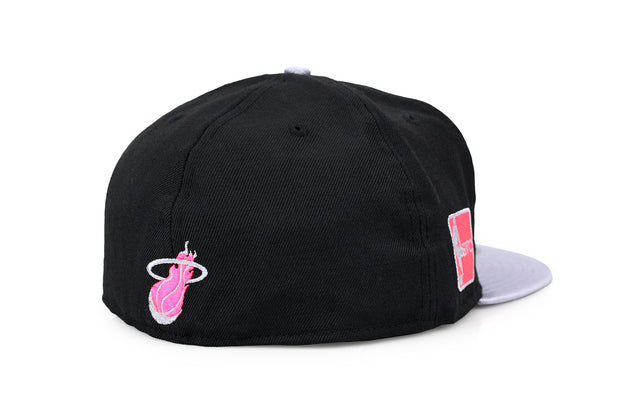 MIAMI HEAT JET BLACK METALLIC SILVER INFRARED BLISS NEW ERA FITTED CAP