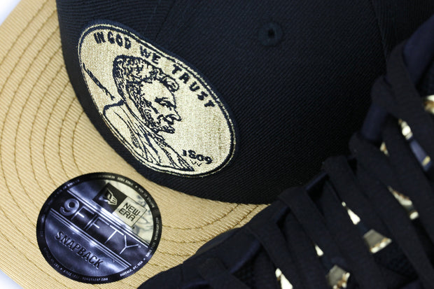 "PENNY 1¢ ONE CENT AIR FOAMPOSITE PRO ""METALLIC GOLD"" MATCHING NEW ERA 9FIFTY SNAPBACK HAT"