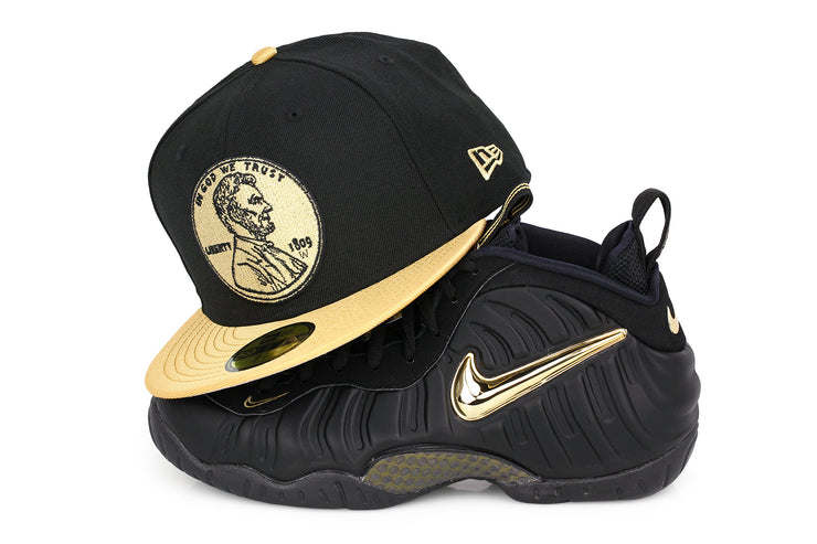 "PENNY 1¢ ONE CENT AIR FOAMPOSITE PRO ""METALLIC GOLD"" MATCHING NEW ERA 59FIFTY FITTED HAT"