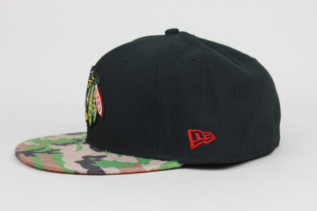 CHICAGO BLACKHAWKS FAUX CAMO NEW ERA 59FIFTY FITTED CAP