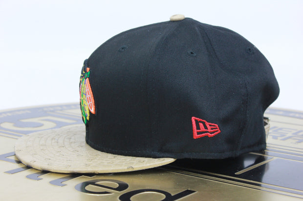 CHICAGO BLACKHAWKS FAUX OSTRICH MEDIUM-LARGE NEW ERA 9FIFTY STRAPBACK HAT