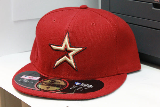 HOUSTON ASTROS BRICK RED ON FIELD NEW ERA 59FIFTY FITTED CAP