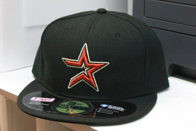 HOUSTON ASTROS BLACK ON FIELD NEW ERA 59FIFTY FITTED CAP