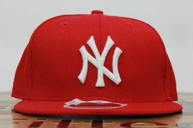 NEW YORK YANKEES KIDS SCARLET CLASSIC NEW ERA 59FIFTY FITTED HAT