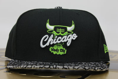 CHICAGO BULLS ELEPHANT AIR JORDAN 6 RINGS VENOM GREEN NEW ERA 59FIFTY FITTED HAT