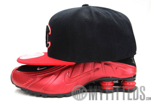Champion Jet Black Scarlet Chenille Black Logo Fitted Cap