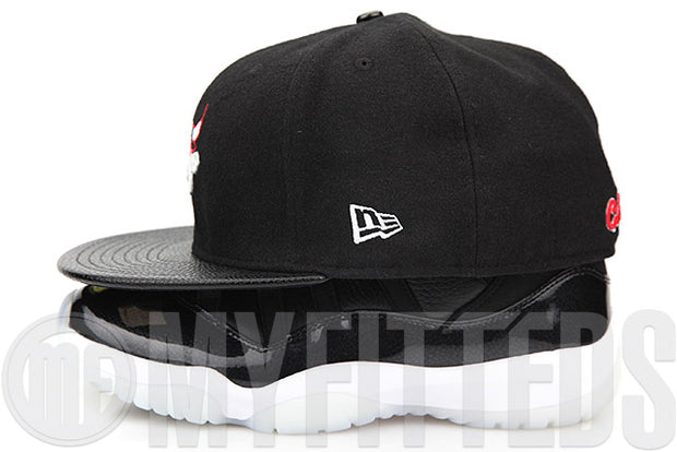 "Chicago Bulls Jet Black Melton Faux Pebbled Patent Air Jordan XI ""72-10"" Matching New Era Fitted Cap"