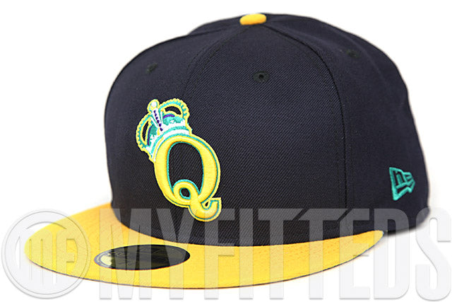 Queens Kings Midnight Navy Argent Gold Leaf Green Fuschia Custom New Era Fitted Cap