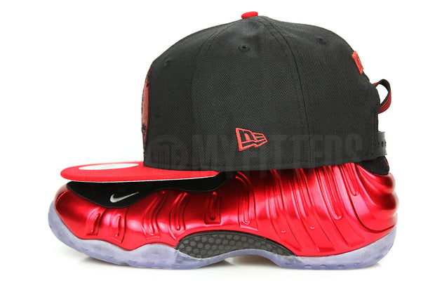 "Penny 1¢ One Cent Jet Black Garnet Fire Air Foamposite One QS ""Metallic Red"" New Era Snapback"