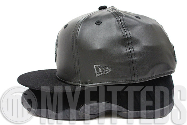 Vancouver Grizzlies Jet Black Faux Leather Black Melton Black Suede Air Foamposite Matching New Era Hat