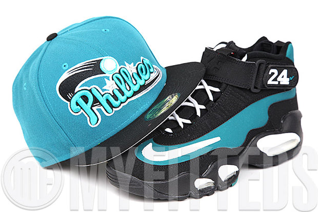 "Philadelphia Phillies Pure Aqua Jet Black Air Griffey Max 1 ""Freshwater"" Matching New Era Fitted Cap"