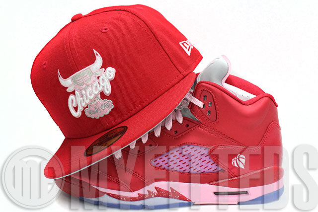 Chicago Bulls Windy City Scarlet Light Pink For The Love Of The Game Jordan Retro 5 New Era Hat