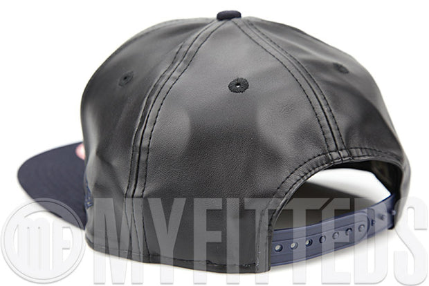 Cleveland Cavaliers Jet Black Midnight Navy Smoothly Stated Faux Leather New Era Original Fit Snapback