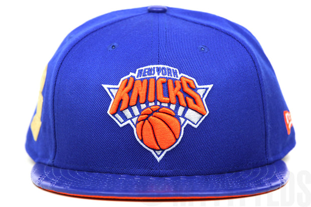 New York Knicks NBA Finals Trophy Champs Club Royal Orangeade Liquid Metal New Era Fitted Cap