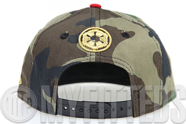 Star Wars Chibi Bobba Fett Woodland Camo Garnet Fire Gold KIDS New Era 9FIFTY Snapback Hat