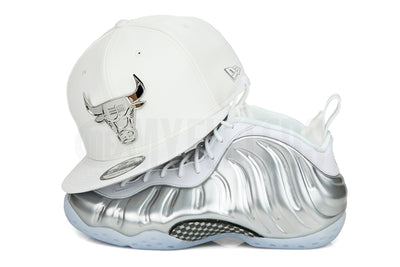 Chicago Bulls White Faux Pebble Silver Metal AJ IV New Era 59Fifty Fitted Hat