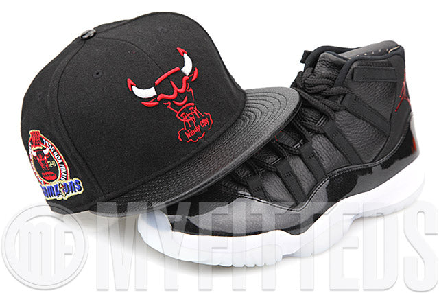 "Chicago Bulls Trace Jet Black Melton & Faux Pebbled Air Jordan XI ""72-10"" Matching New Era Snapback"