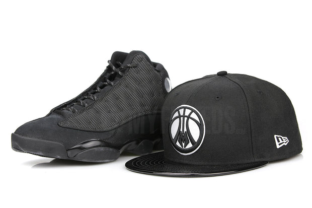 "Milwaukee Bucks Jet Black & Faux Patent Air Jordan XIII ""Black Cat"" New Era Fitted Cap"