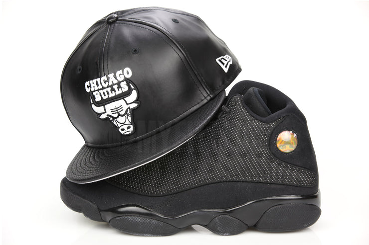 "Chicago Bulls NBA Jet Black Faux Leather & Pebbled Glacial White Air Jordan III ""Cyber Monday"" New Era Hat"