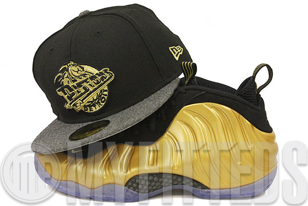 Detroit Pistons Jet Black Graphite Melton Metallic Gold Foamposite Matching New Era Hat