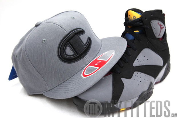 Champion Big C Placid Grey Jet Black Classic Fitted Cap Hat