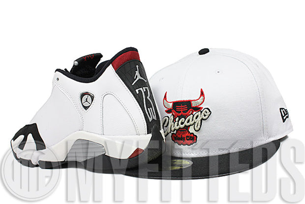Chicago Bulls Glacial White Jet Black Metallic Silver Scarlet Air Jordan XIV Black Toe New Era Hat