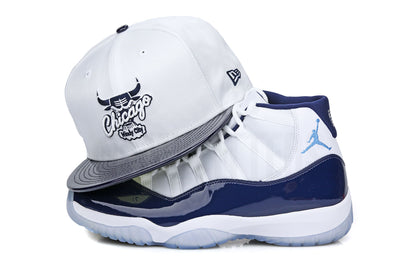 "Chicago Bulls White Ballistic Collegiate Navy Patent Air Jordan XI ""Win Like 82"" New Era Snapback"