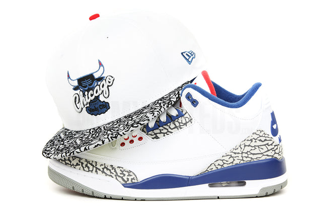"Chicago Bulls Glacial White Elephant Print Serene Slate Air Jordan III ""True Blue"" OG New Era Hat"