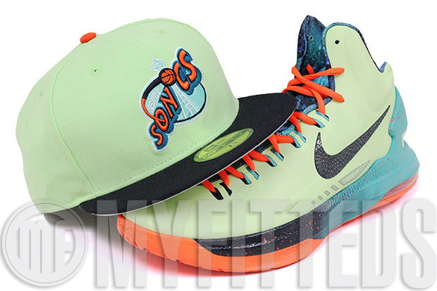 Seattle Supersonics Melon Green Midnight Navy Orange Nike KD V All Star Area 72 New Era Hat