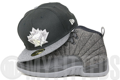 "Toronto Blue Jays Jet Black Grey Melton Wool Air Jordan VIII ""Chrome"" & XII ""Wool"" New Era Fitted Cap"