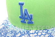 Los Angeles Dodgers Ostrich Snake Skin Leather Visor Treasure Isle Green Sky Blue White New Era Strapback
