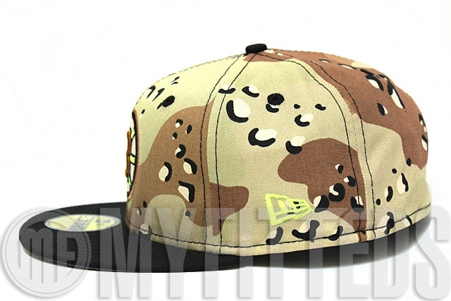 Boston Bruins Desert Camo Black Sail Neon Volt Green NHL New Era Fitted Hat