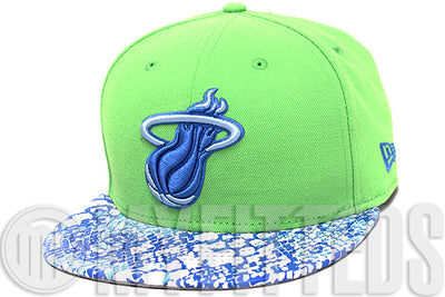 Miami Heat Ostrich Snake Skin Leather Visor Treasure Isle Green Sky Blue White New Era Strapback
