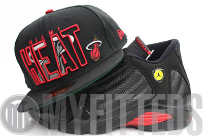 Miami Heat Inner Block Jet Black Scarlet Grey New Era Fitted Cap