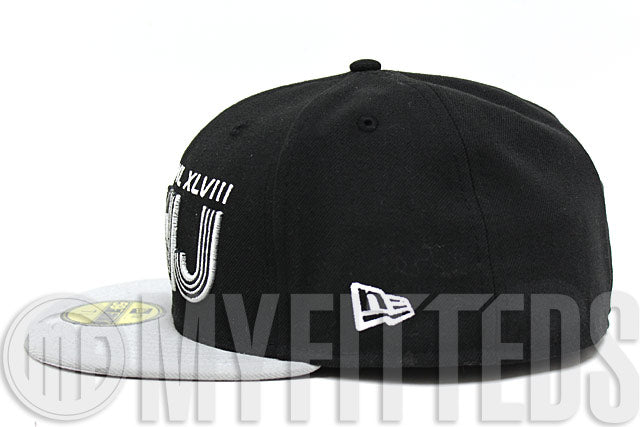 Superbowl XLVIII 48 NY NJ Jet Black Placid Grey NFL Commemorative New Era Fitted Hat