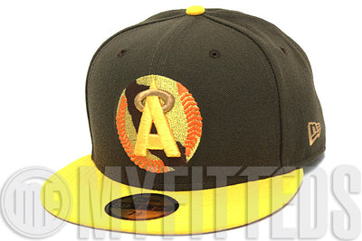 California Angels Mocha Brown Autumn Gold Metallic Gold Orange Opaque Copper New Era Hat